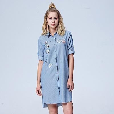 Lee 條紋貼布長袖襯衫式洋裝-藍條紋