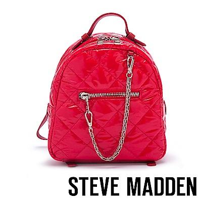 STEVE MADDEN-BJAMMIN 美式青春亮漆面菱格壓紋雙肩後背包-紅色