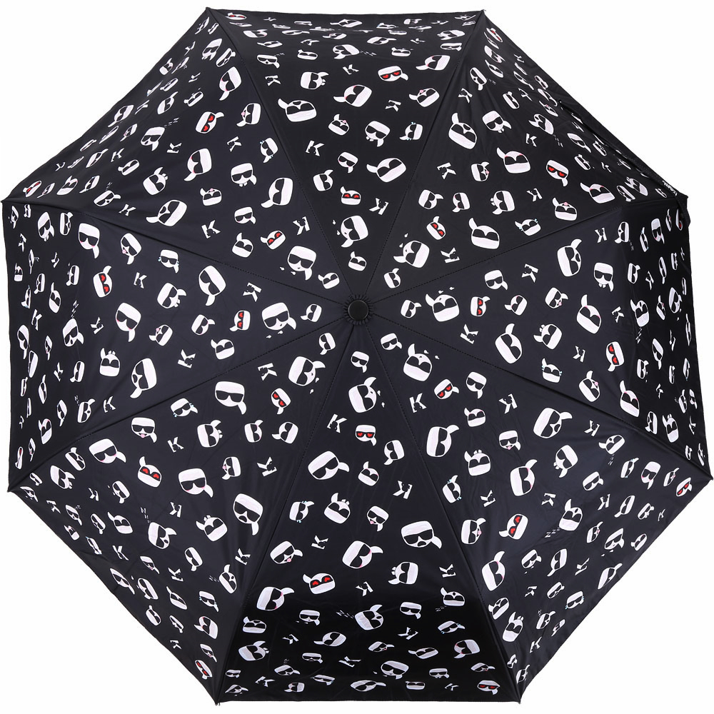KARL LAGERFELD K/IKONIK 滿版老佛爺多表情印花自動摺疊傘