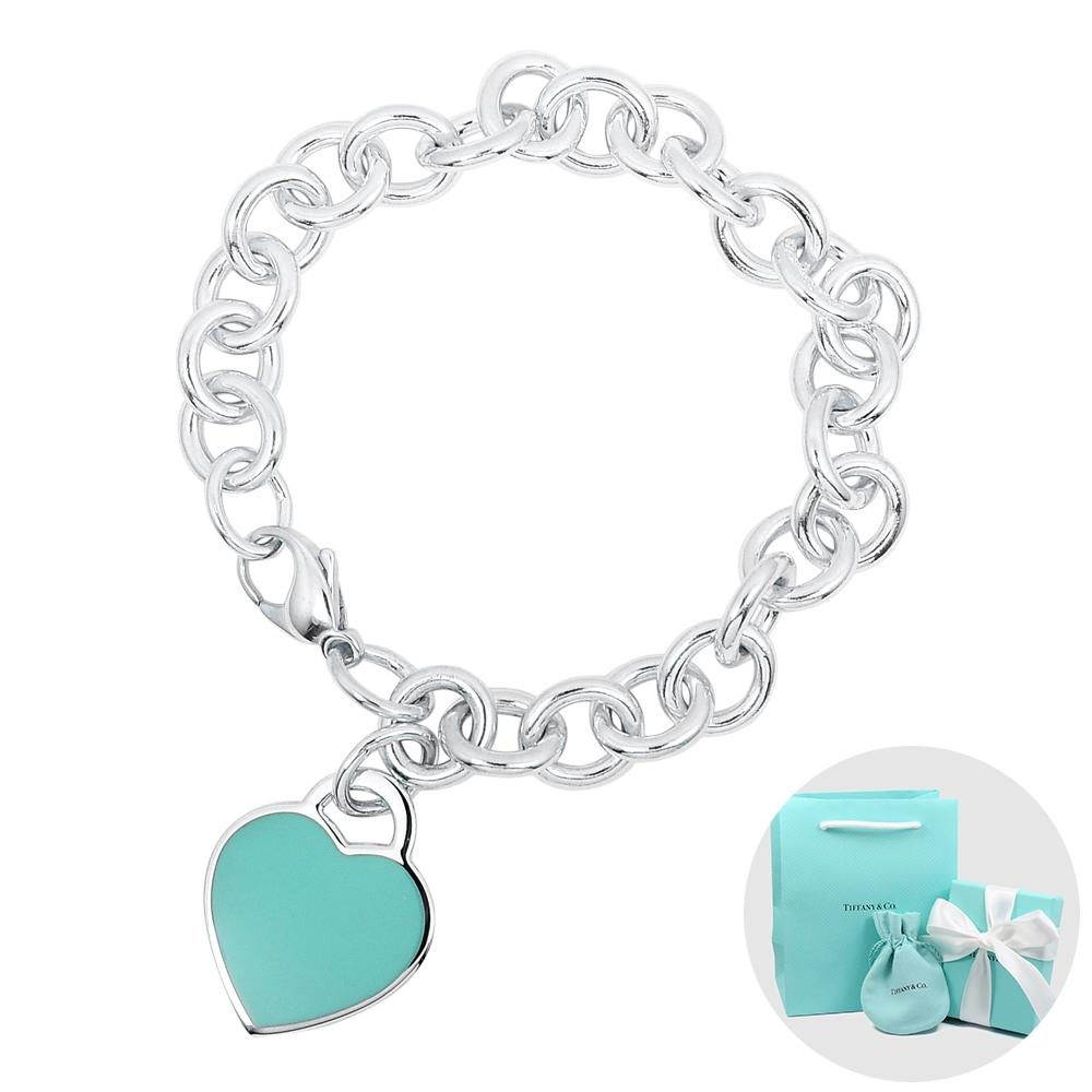 Tiffany&Co. 蒂芙尼 經典藍色琺瑯刻字愛心粗鍊純銀手鍊