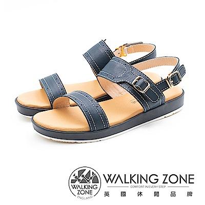 WALKING ZONE 真皮雙帶釦飾後跟套腳涼鞋 女鞋 - 藍(另有棕)