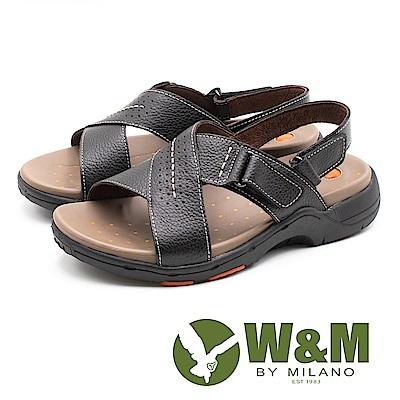 W&M (男)帥性交叉 真皮氣墊感涼鞋-黑(另有咖)