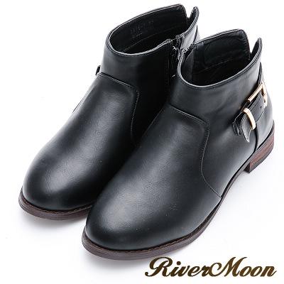 River&Moon大尺碼-簡約後釦環及踝短靴-黑