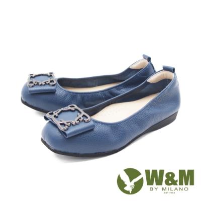 W&M (女)圓頭蝴蝶方釦 娃娃鞋 平底鞋 女鞋 -藍(另有黑)