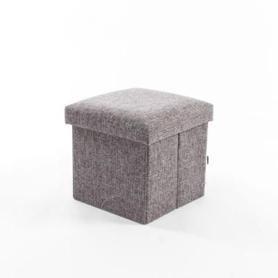 樂嫚妮 棉麻收納椅/穿鞋凳-15L-灰