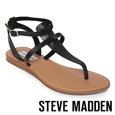 STEVE MADDEN UPON  經典真皮T字平底涼鞋-黑色