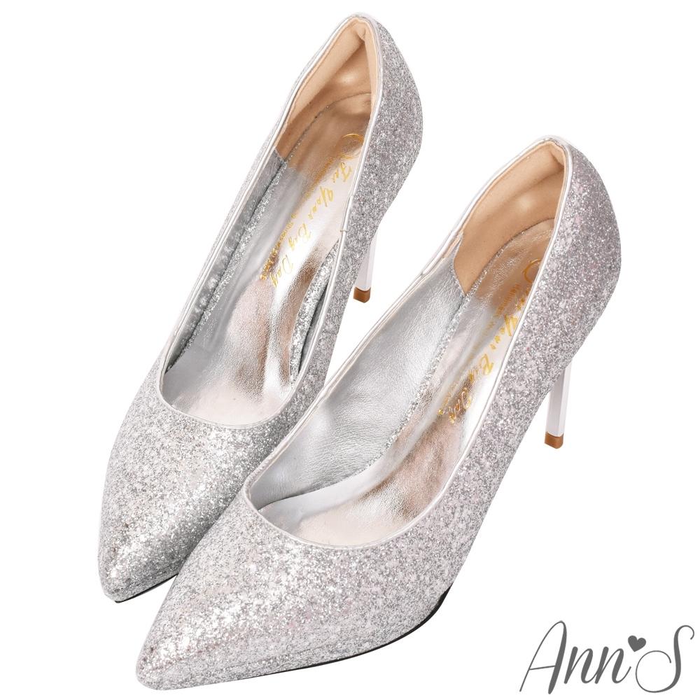 Ann'S閃耀恆星-亮片電鍍鞋跟防水台尖頭高跟鞋-銀