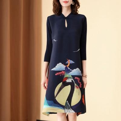 復古水滴領仙鶴印花改良式旗袍壓摺洋裝-F-糖潮