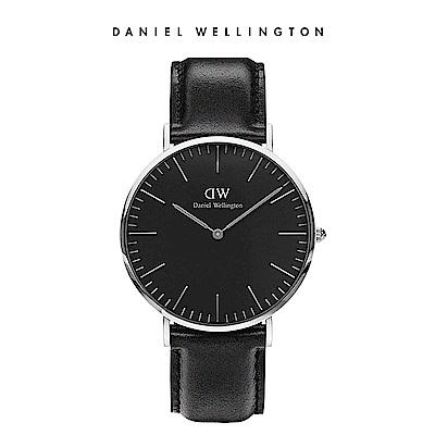 DW 手錶 官方旗艦店 40mm銀框 Classic Black 爵士黑真皮皮革錶