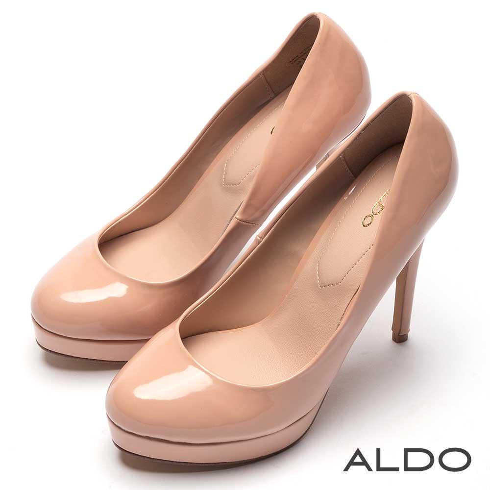 ALDO 原色亮面真皮鞋墊前高後高防水台高跟鞋~氣質裸色