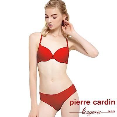 Pierre Cardin皮爾卡登 B罩 前扣聚攏美背無痕內衣(成套-棕紅)