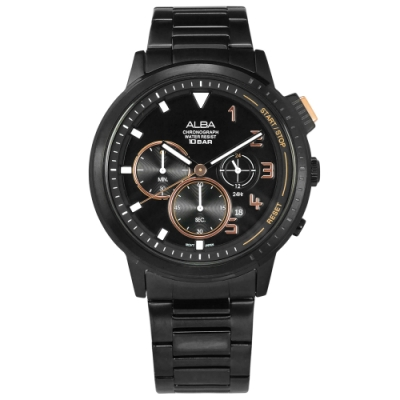 ALBA 紳士英倫 三眼計時 日期 防水100米 不鏽鋼手錶-鍍黑/44mm