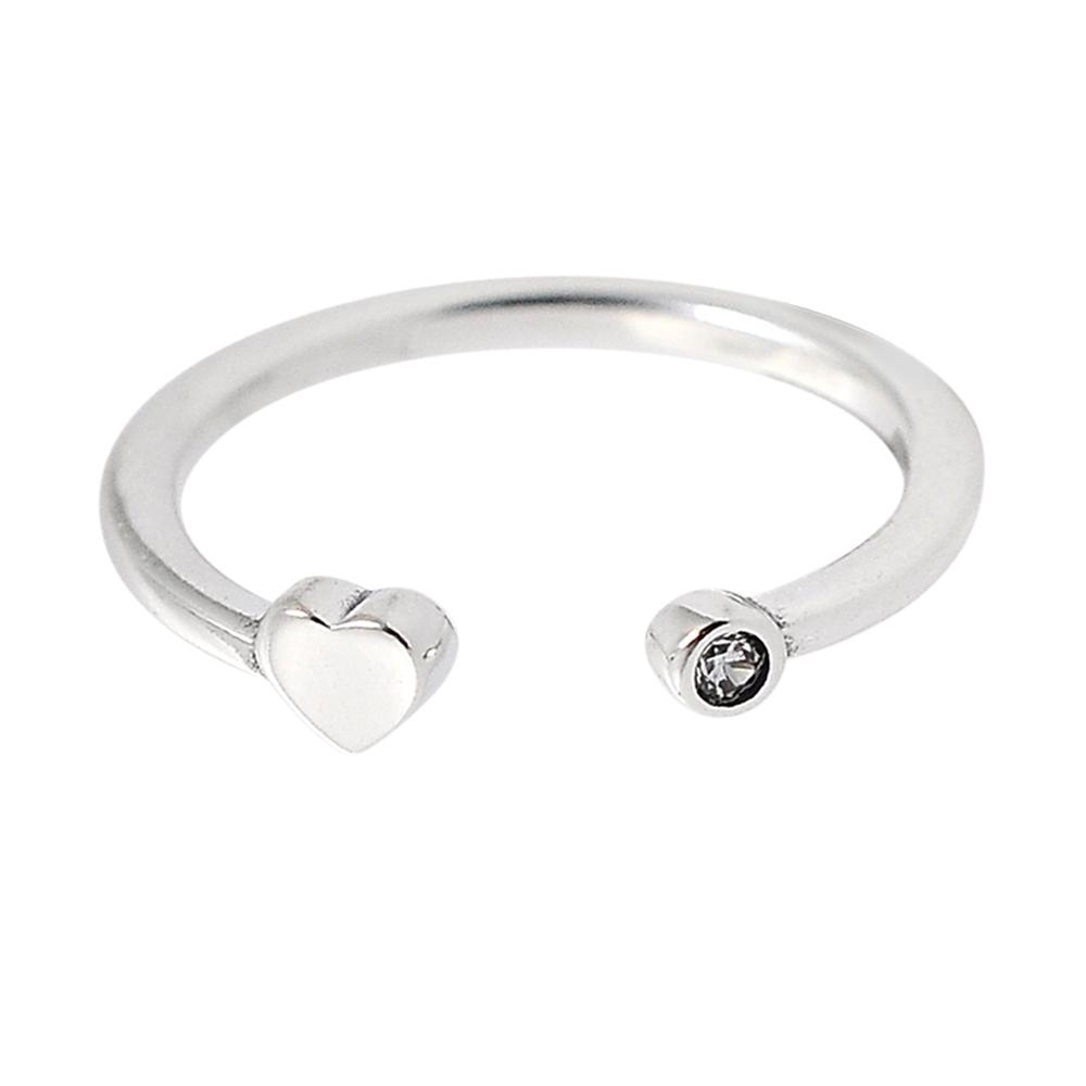 Pandora 潘朵拉 鑲鋯愛心開口式 925純銀戒指