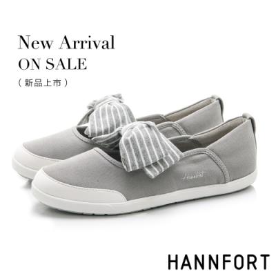 HANNFORT CALIFORNIA 海軍條紋蝴蝶結休閒鞋-女-灰