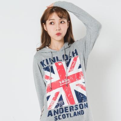 【Kinloch Anderson金安德森女裝】國旗長版帽T 麻灰