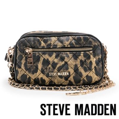 STEVE MADDEN-BMOOD 奢華小香風經典菱格壓紋肩/斜背兩用包-豹紋色