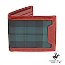 B.H. POLO-經典綠格紋 對開5卡短夾透明窗拉鍊暗袋短夾