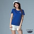 【LACHELN】抗UV吸排彈性印刷女圓領短T恤-L92WA05寶藍