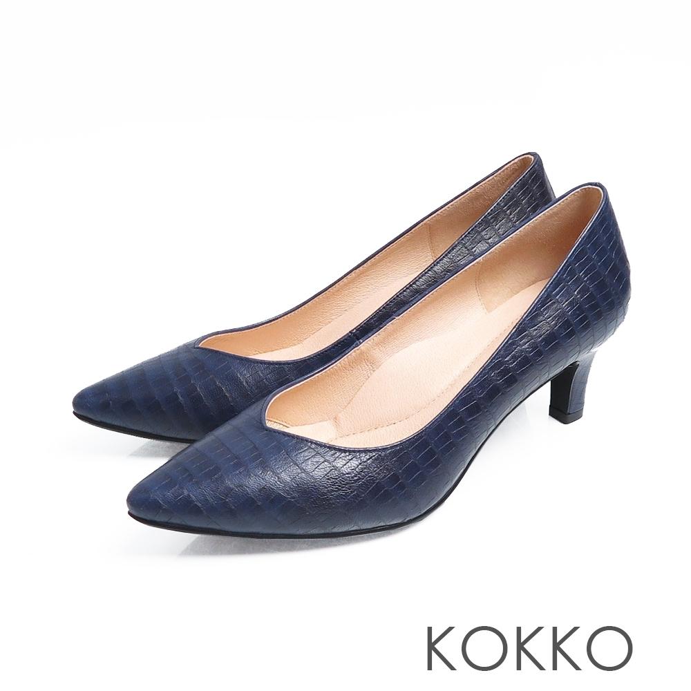 KOKKO - 優雅尖頭鱷魚壓紋羊皮粗跟鞋 - 經典藍