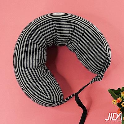 JIDA 日式簡約條紋風連帽微粒子U型護頸枕 70cmX15cm(3款)