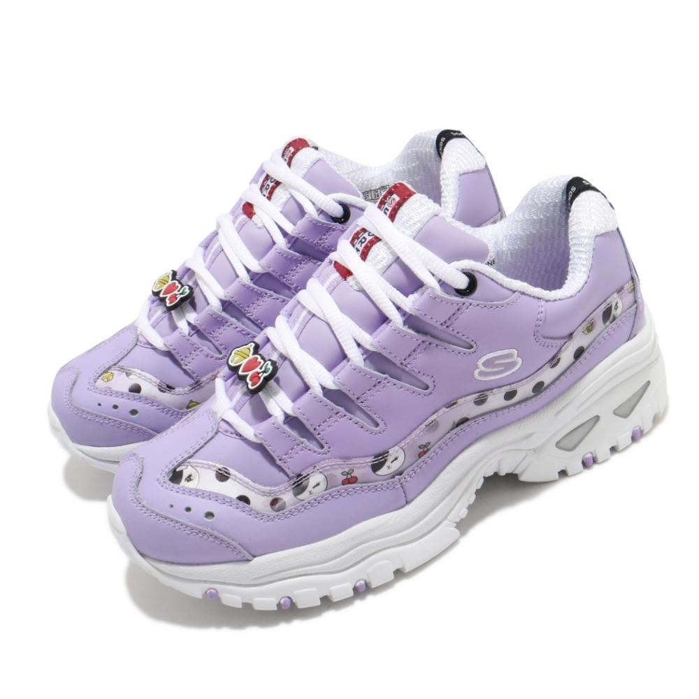 Skechers 休閒鞋 Energy LINE FRIENDS 女鞋 老爹鞋 厚底增高 潔西卡 皮革 穿搭 修飾 紫白 13424PUR