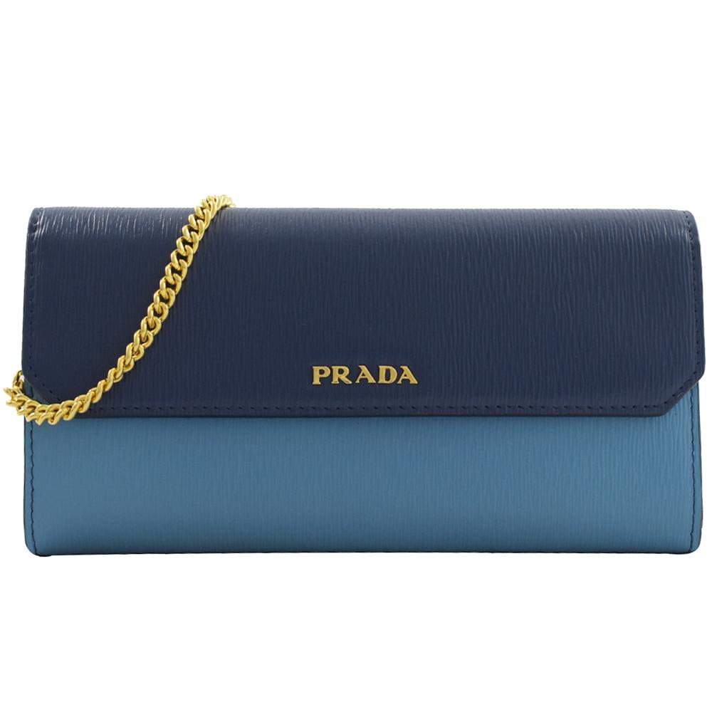 PRADA 金屬LOGO雙色水波紋斜背式長夾(藍)PRADA