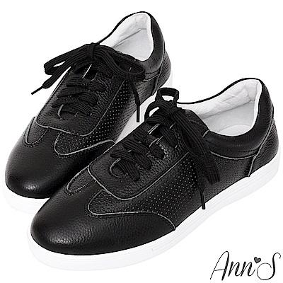 Ann'S第二代經典復刻休閒透氣孔綁帶小白鞋-黑