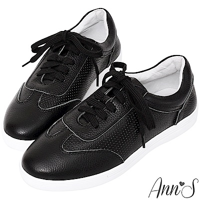 Ann'S第二代超軟真牛皮經典復刻休閒透氣孔綁帶小白鞋-黑