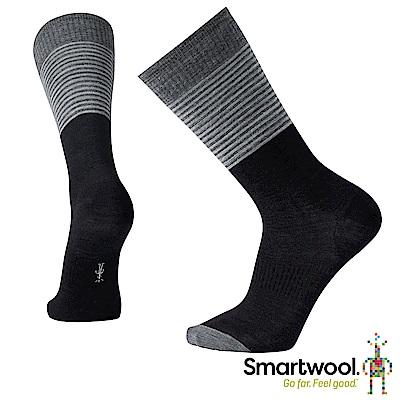 SmartWool 男合身剪裁條紋中長襪 黑