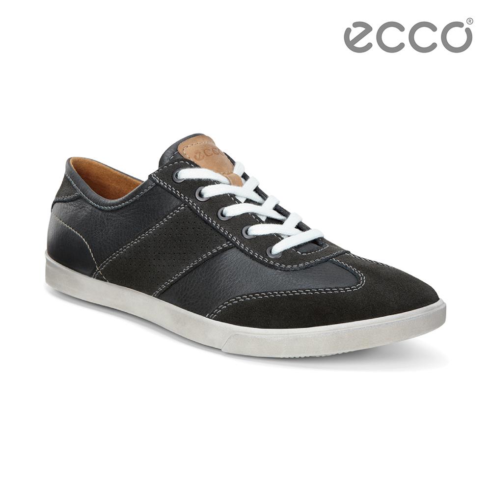 ECCO COLLIN 男綁帶休閒鞋-黑