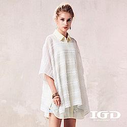 IGD英格麗 蕾絲條紋網眼外罩衫-白色