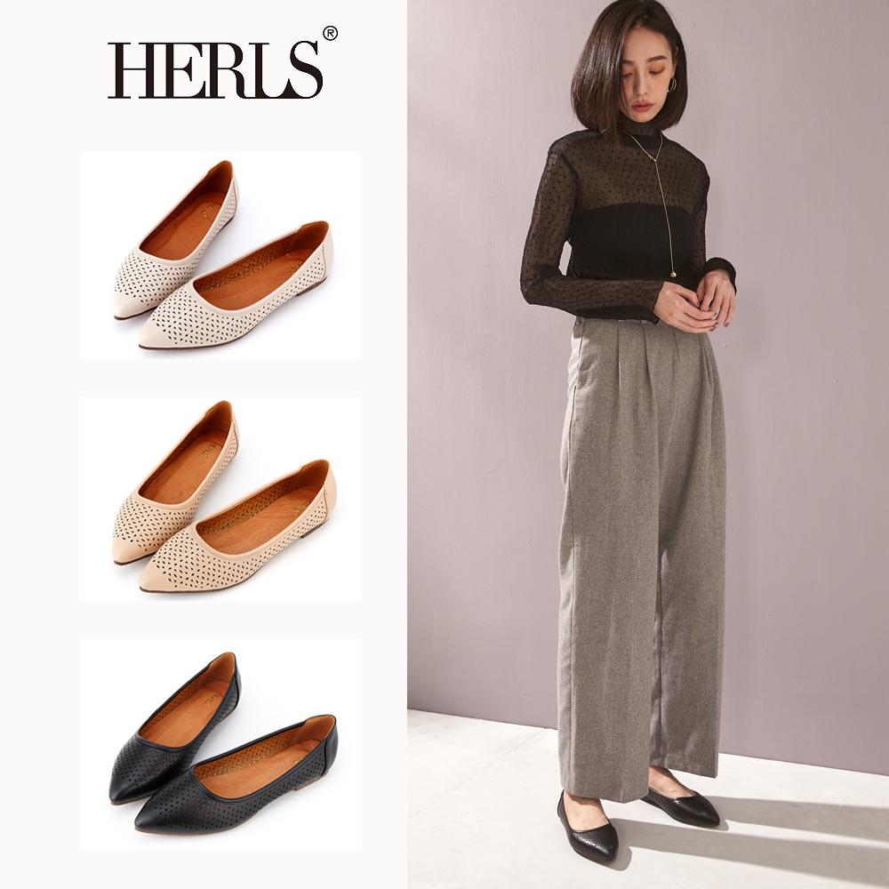 HERLS 氣質甜美 內真皮花窗沖孔尖頭平底鞋(共三色)