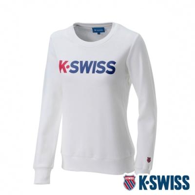 K-SWISS 2 Tone KS Logo 刷毛圓領上衣-女-白