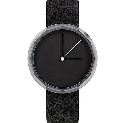 AÃRK 純黑極簡主義真皮革腕錶 -質感黑/38mm