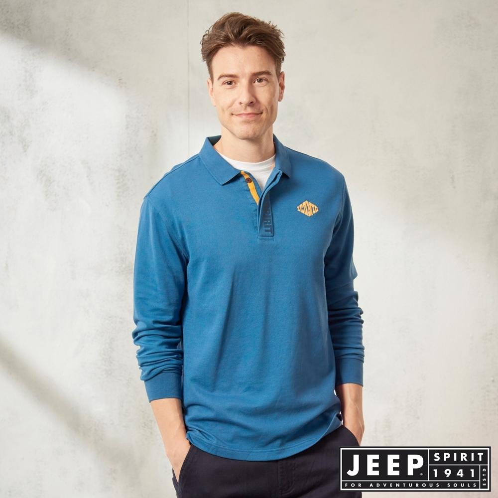 JEEP 經典素色長袖POLO衫 -湖水藍