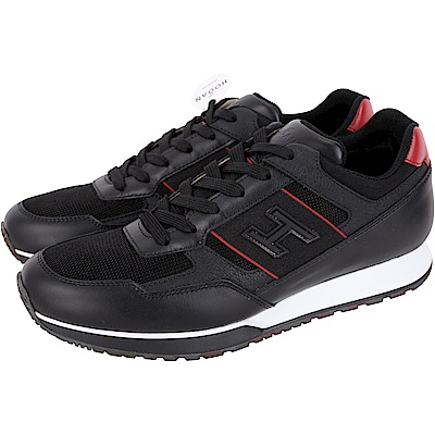 HOGAN H321 黑色網布拼接繫帶休閒鞋(男款)