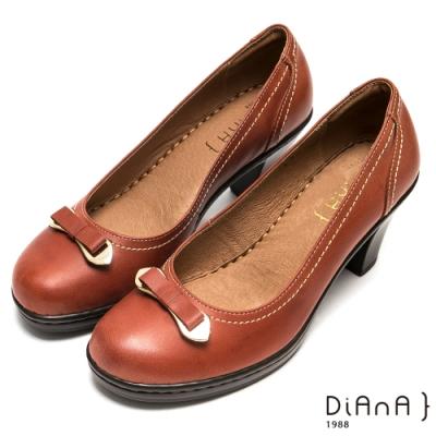 DIANA 小巧金屬蝴蝶結跳色車線真牛皮高跟鞋-俏麗滿分-乾燥玫瑰色