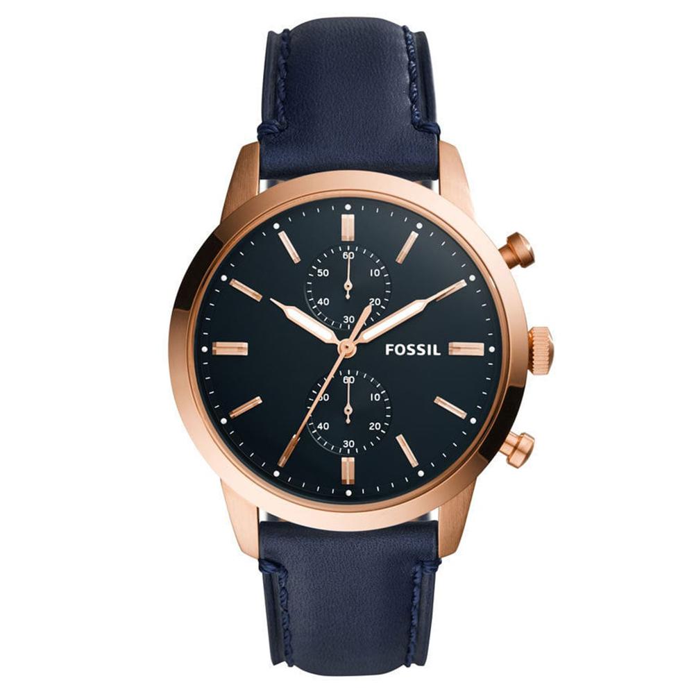 FOSSIL 永恆傳說真皮手錶(FS5436)-藍/44mm