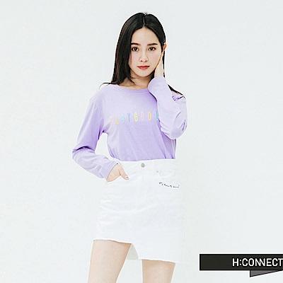 H:CONNECT 韓國品牌 女裝-繽紛繡字長袖T-shirt-紫