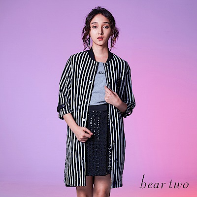 beartwo 經典黑白條紋顯瘦長版七分袖外套(黑色)