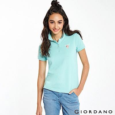 GIORDANO 女裝麋鹿漸層刺繡短袖POLO衫-64 湖藍