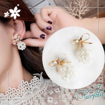 iSFairytale伊飾童話 珍珠泡泡 金繽蝴蝶結耳環
