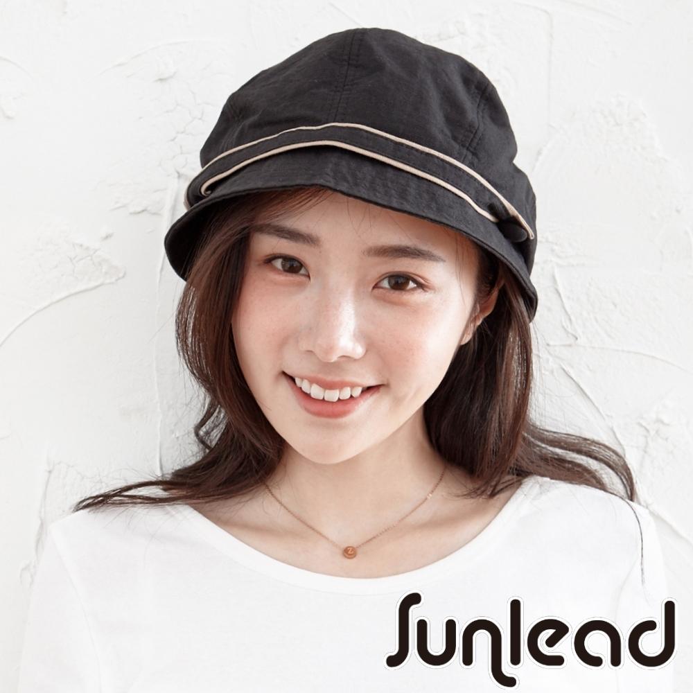 Sunlead 小顏效果。防曬美型圓頂輕量遮陽軟帽 (黑色)