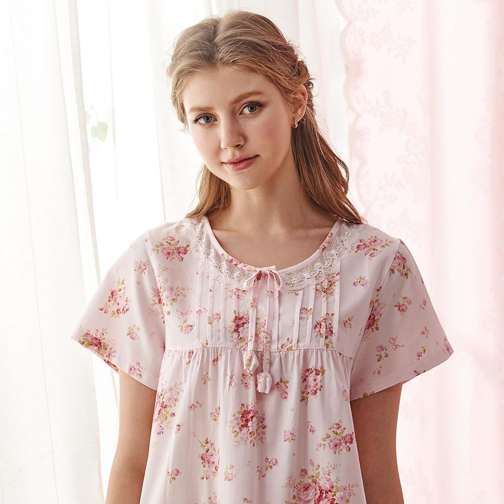 羅絲美睡衣 -凡爾賽玫瑰短袖洋裝睡衣(櫻花粉)