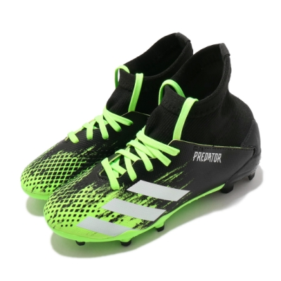 adidas 足球鞋 Predator 釘鞋 童鞋 愛迪達 透氣 偏硬場地 短草場地 中童 黑 綠 EH3024