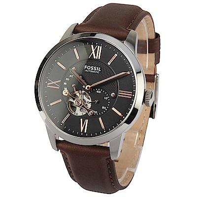FOSSIL Townsman 自動機械棕色皮革腕錶-(ME3061)-45mm
