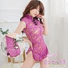 愛神邱比特 CB183 情趣内衣可愛紫色中國風透明蕾絲柔纱旗袍睡袍 買就送跳蛋