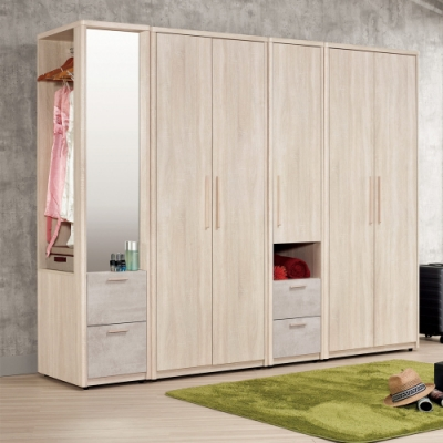 Boden-漢森8.1尺多功能收納衣櫃組合(開門+開放式鏡面)-244x60x200cm