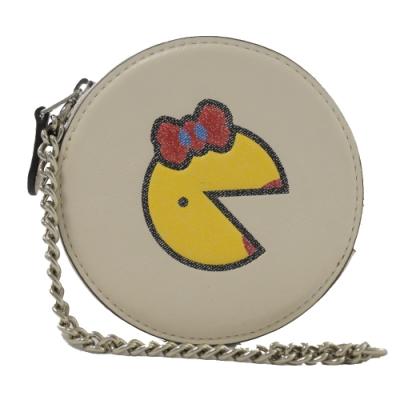 COACH PAC-MAN聯名款小精靈皮革圓型零錢包(白)