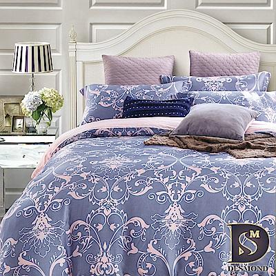DESMOND 特大100%天絲全鋪棉床包兩用被四件組/加高款冬包 淡淡的愛戀-藍